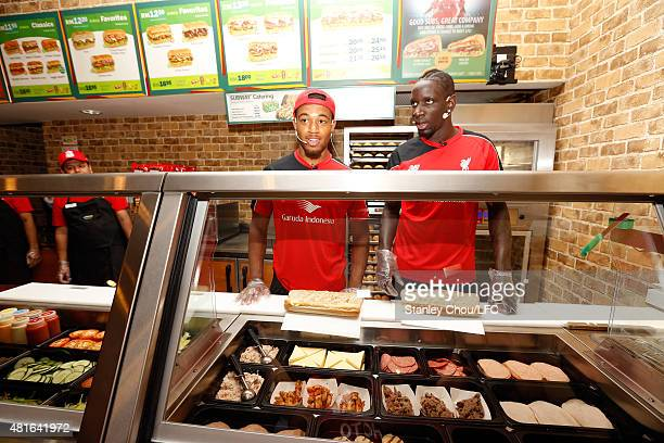 Mamadou Sakho and Jordan Ibe of Liverpool FC make their sandwiches during meet and greet the fans at the Subway Cafe in Paradigm Mall on July 23 2015...
