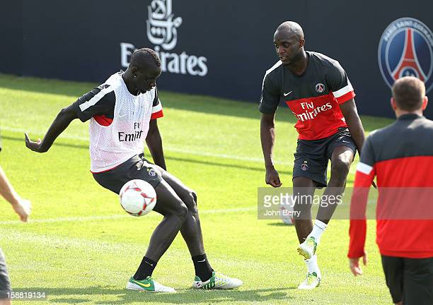 Mamadou Sakho and Mohamed Sissoko of PSG in action during the Paris Saint Germain training session held at the Aspire Academy for Sports Excellence...