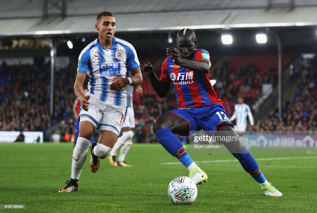 Mamadou Sakho of Crystal Palace and Abdelhamid Sabiri of Huddersfield during the Carabao Cup Third Round match between Crystal Palace and Huddersfield Town at Selhurst Park on September 19, 2017 in London, England.