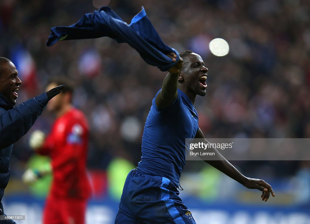 <a gi-track='captionPersonalityLinkClicked' href=/galleries/search?phrase=Mamadou+Sakho&family=editorial&specificpeople=4154099 ng-click='$event.stopPropagation()'>Mamadou Sakho</a> of France celebrates after winning the FIFA 2014 World Cup Qualifier Play-off second leg match between France and Ukraine at the Stade de France on November 19, 2013 in Paris, France.