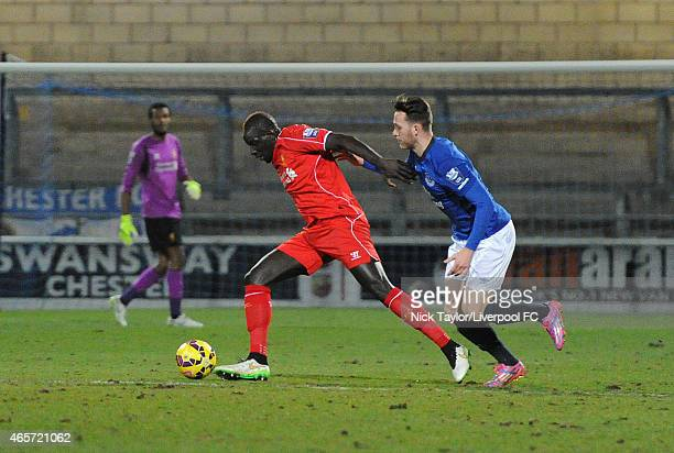 Mamadou Sakho of Liverpool and Gethin Jones of Everton in action during the U21 Premier League match between Liverpool and Everton at The Swansway...