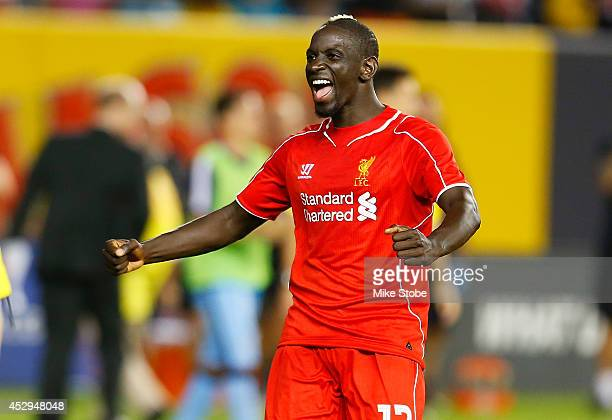 Mamadou Sakho of Liverpool celebrates after defeating Manchester City during the International Champions Cup 2014 at Yankee Stadium on July 30 2014...