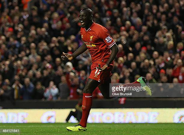Mamadou Sakho of Liverpool celebrates scoring his team's second goal during the Barclays Premier League match between Liverpool and West Ham United...