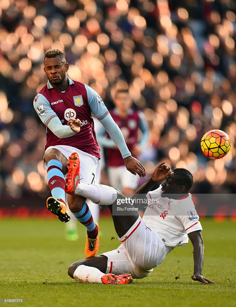 Mamadou Sakho of Liverpool (r) challenges Leandro Bacuna of Aston Villa during the Barclays Premier League match between Aston Villa and Liverpool at Villa Park on February 14, 2016 in Birmingham, Liverpool.