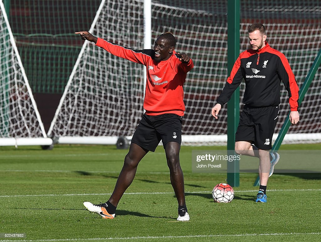 Mamadou Sakho of Liverpool during a training session at Melwood Training Ground on April 19, 2016 in Liverpool, England.