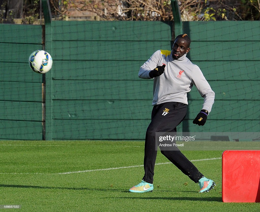 Mamadou Sakho of Liverpool during a training session prior the match between PFC Ludogorets Razgrad and Liverpool at Melwood Training Ground on November 25, 2014 in Liverpool, England.