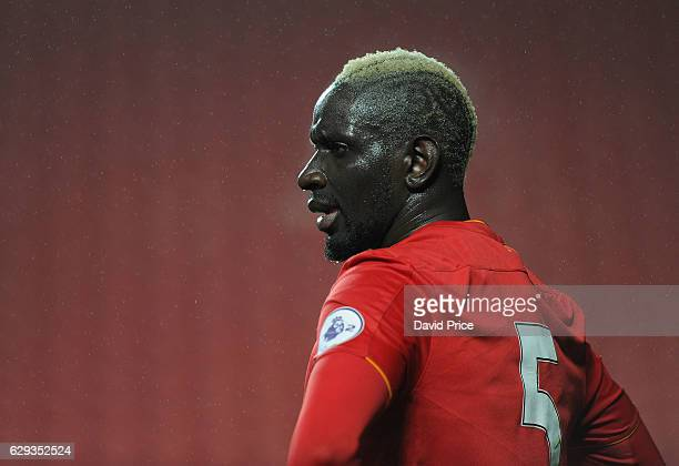 Mamadou Sakho of Liverpool during the Premier League match between Arsenal and Stoke City at Anfield on December 12 2016 in Liverpool England