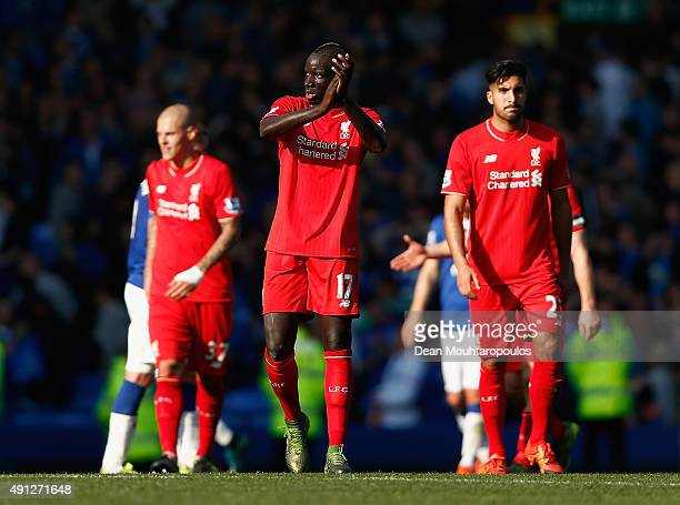 Mamadou Sakho of Liverpool Emre Can of Liverpool and Martin Skrtel of Liverpool react after the Barclays Premier League match between Everton and...