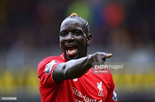 Mamadou Sakho of Liverpool gives instructions during the Barclays Premier League match between Watford and Liverpool at Vicarage Road on December 20...
