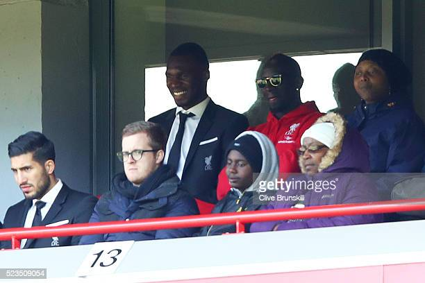 Mamadou Sakho of Liverpool looks on from the stands during the Barclays Premier League match between Liverpool and Newcastle United at Anfield on...