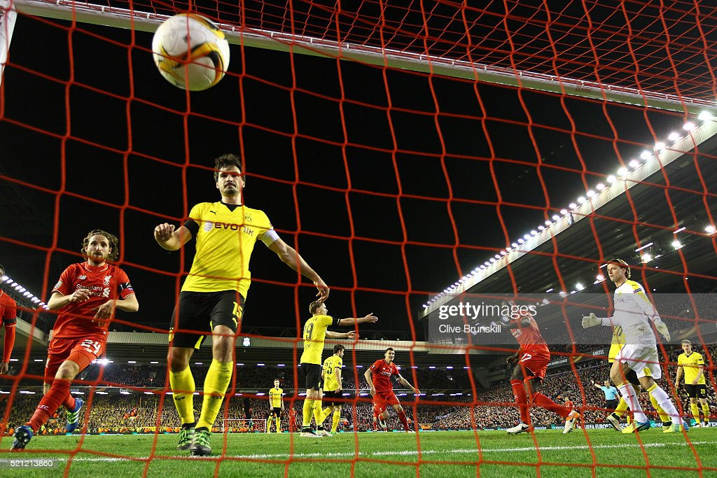 Mamadou Sakho of Liverpool scores his team's third goal during the UEFA Europa League quarter final, second leg match between Liverpool and Borussia Dortmund at Anfield on April 14, 2016 in Liverpool, United Kingdom.