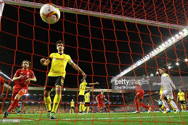 Mamadou Sakho of Liverpool scores his team's third goal during the UEFA Europa League quarter final second leg match between Liverpool and Borussia...