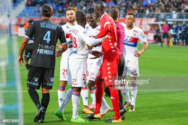 30 Mamadou Samassa of Troyes 4 Oswaldo Vizcarrondo of Troyes 28 Tanguy Ndombele Alvaro of Lyon 29 Lucas Tousart of Lyon during the Ligue 1 match...