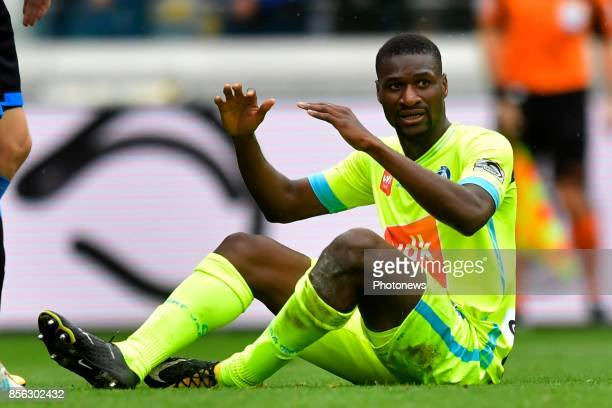 Mamadou Sylla forward of KAA Gent looks dejected after missing an opportunity during the Jupiler Pro League match between Club Brugge and KAA Gent on...