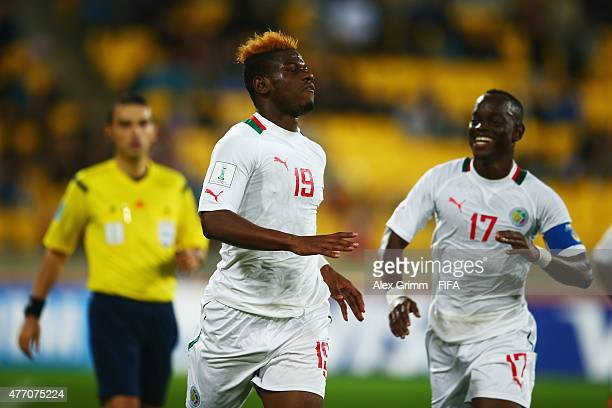 Mamadou Thiam of Senegal celebrates his team's first goal during the FIFA U20 World Cup New Zealand 2015 Quarter Final match between Senegal and...
