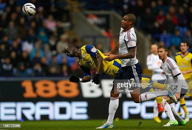Mamady Sidibe of Sheffield scores the opening goal during the npower Championship match between Bolton Wanderers and Sheffield Wednesday at Reebok...