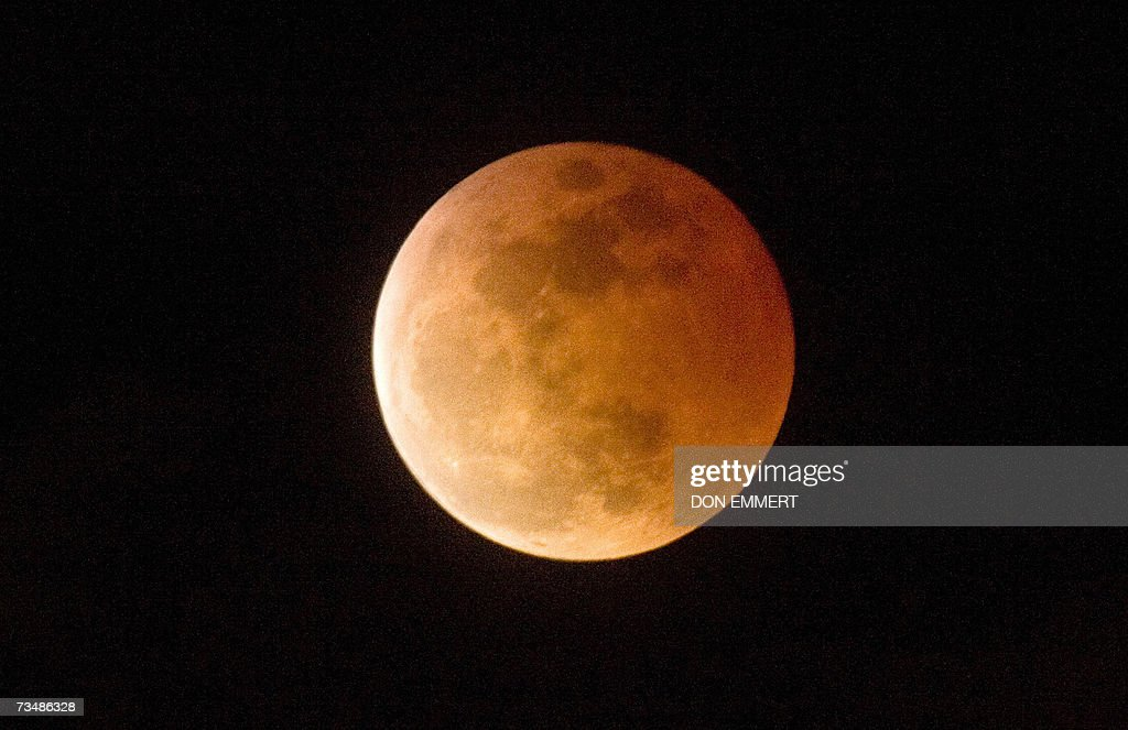 The total lunar eclipse as it was seen 03 March 2007 in Mamaroneck NY The eclipse occurs when the full moon passes into the Earth's shadow and is...