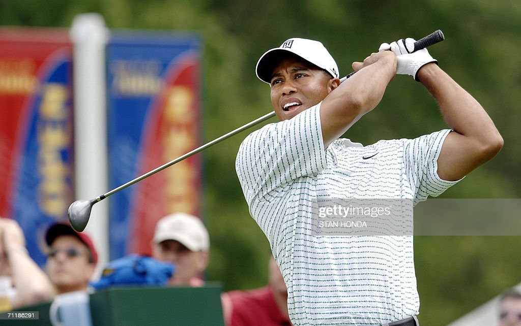 Tiger Woods hits a drive on the 3rd tee during a practice round for the US Open Championships 12 June 2006 at Winged Foot Golf Club in Mamaroneck NY...