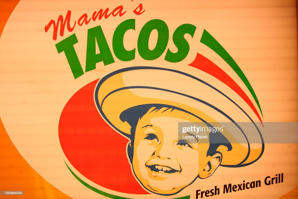 Mama's Tacos sign at Si Senor restaurant. : Stock Photo