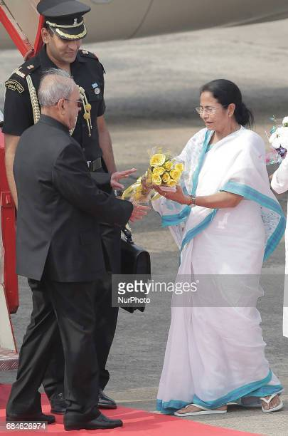 Mamata Banerjee Chief Minister of West Bengal and Chief of All India Trinamool Congress party welcome to President of India Shri Pranab Mukherjee at...