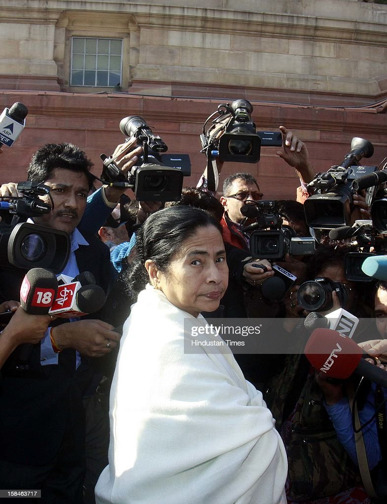 Mamata Banerjee Chief Minister of West Bengal arrive at parliament house during the parliament winter session on December 17, 2012 in New Delhi, India.