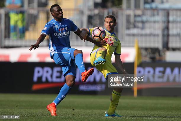 Mame Baba Thiam of Empoli Fc in action against Ledian Memushaj of Pescara Calcio during the Serie A match between Empoli FC and Pescara Calcio at...