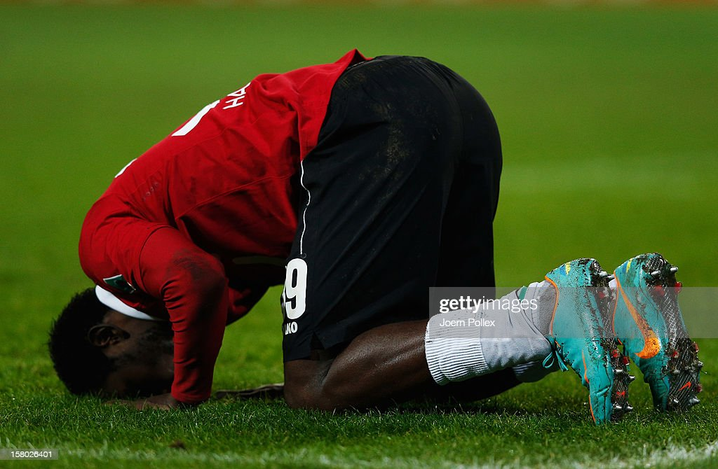 Mame Biram Diouf of Hannover celebrates after scoring his team's second goal during the Bundesliga match between Hannover 96 and Bayer 04 Leverkusen at AWD Arena on December 9, 2012 in Hannover, Germany.