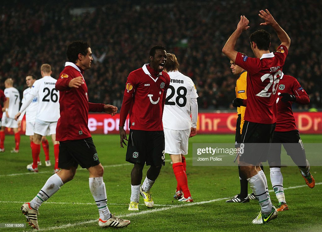 <a gi-track='captionPersonalityLinkClicked' href=/galleries/search?phrase=Mame+Biram+Diouf&family=editorial&specificpeople=8255767 ng-click='$event.stopPropagation()'>Mame Biram Diouf</a> (2nd L) of Hannover celebrates with his team mates after scoring his team's second goal during the UEFA Europa League Group L match between Hannover 96 and Helsingborgs IF at AWD Arena on November 8, 2012 in Hannover, Germany.