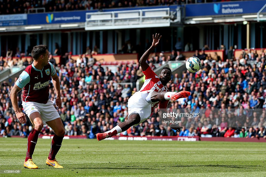 Mame Biram Diouf of Stoke City attempts a jumping volley during the Barclays Premier League match between Burnley and Stoke City at Turf Moor on May...