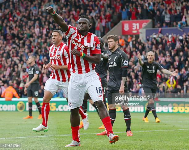 Mame Biram Diouf of Stoke City celebrates scoring a goal during the Barclays Premier League match between Stoke City and Liverpool at Britannia...