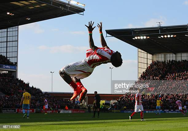 Mame Biram Diouf of Stoke City celebrates scoring the opening goal during the Barclays Premier League match between Stoke City and Crystal Palace at...