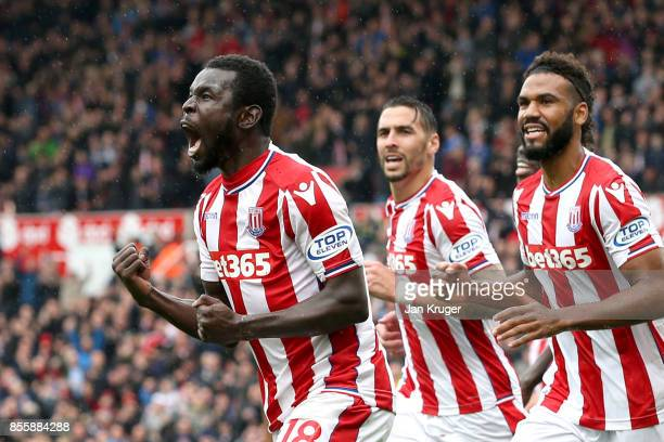 Mame Biram Diouf of Stoke City celebrates scoring the opening goal during the Premier League match between Stoke City and Southampton at Bet365...