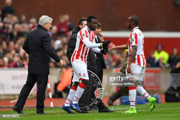 Mame Biram Diouf of Stoke City comes on for Saido Berahino of Stoke City during the Premier League match between Stoke City and Chelsea at Bet365...