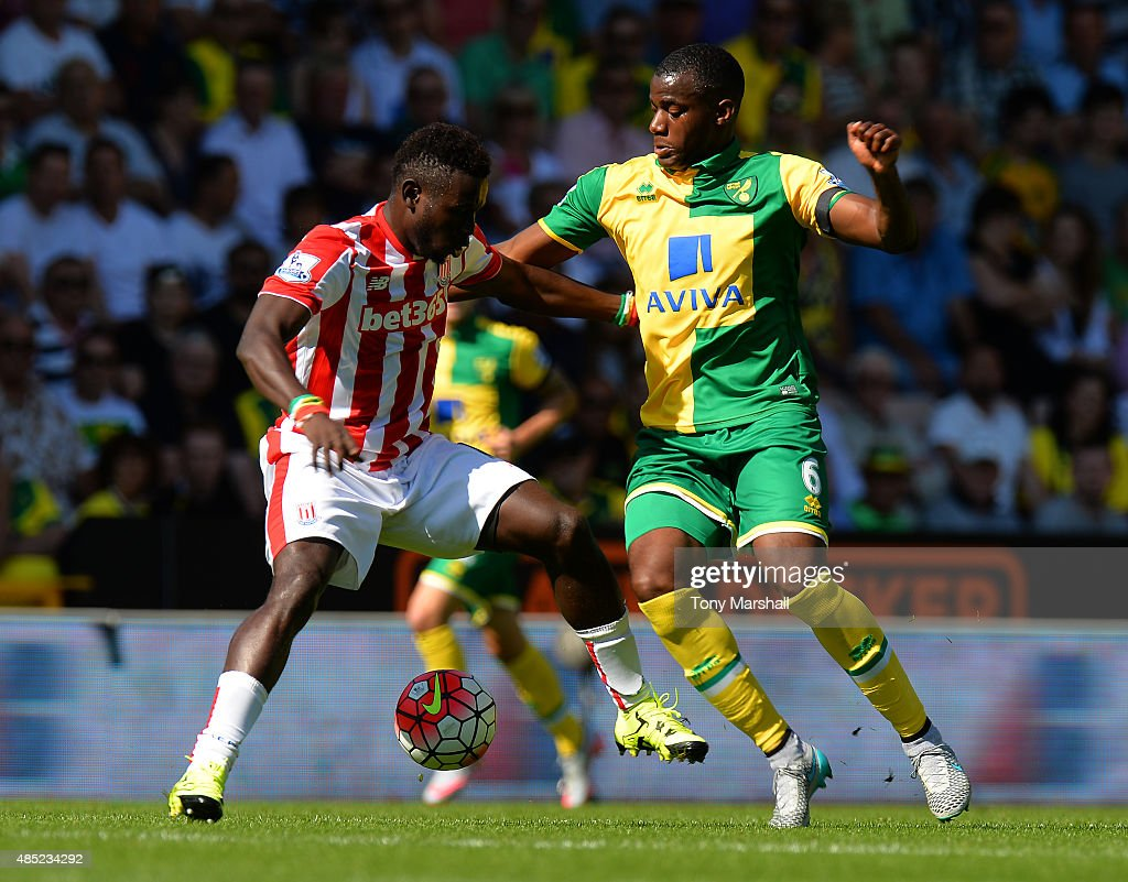 Mame Biram Diouf of Stoke City is tackled by Sebastien Bassong of Norwich City during the Barclays Premier League match between Norwich City and...