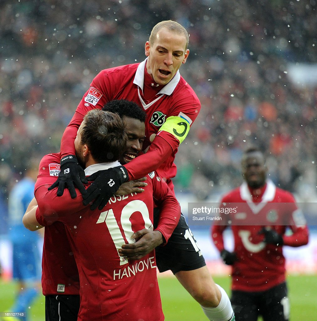 Mame Diouf of Hannover celebrates scoring his goal during the Bundesliga match between Hannover 96 and TSG 1899 Hoffenheim at AWD Arena on February 9, 2013 in Hannover, Germany.