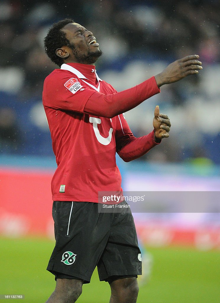 Mame Diouf of Hannover reacts during the Bundesliga match between Hannover 96 and TSG 1899 Hoffenheim at AWD Arena on February 9, 2013 in Hannover, Germany.