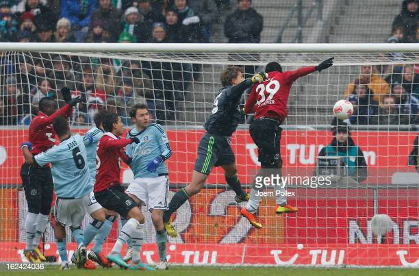 Mame Diouf of Hannover scores his team's first goal during the Bundesliga match between Hannover 96 and Hamburger SV at AWD Arena on February 23 2013...