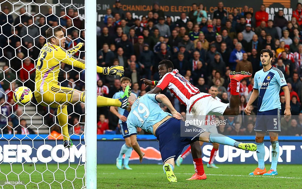 Mame Diouf of Stoke City scores his team's second goal during the Barclays Premier League match between Stoke City and West Ham United at the Britannia Stadium on November 1, 2014 in Stoke on Trent, England.