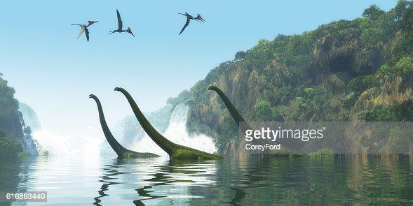 Mamenchisaurus Dinosaur Foggy Day : Stock Photo
