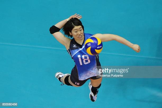 Mami Uchiseto of Japan spikes during the 19th Asian Senior Women's Volleyball Championship 2017 Final match between Thailand and Japan at Alonte...