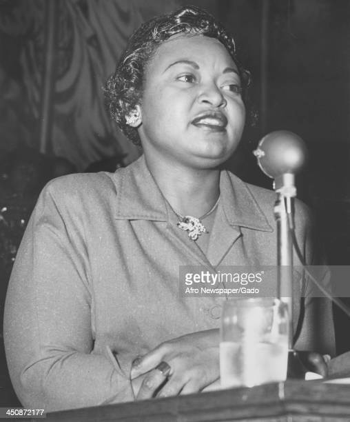 Mamie Bradley mother of lynched teenager Emmett Till delivers a speech Baltimore Maryland 1955