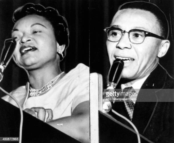 Mamie Bradley mother of lynched teenager Emmett Till speaks alongside James 'Jimmy' Hicks at a rally for the National Association for the Advancement...