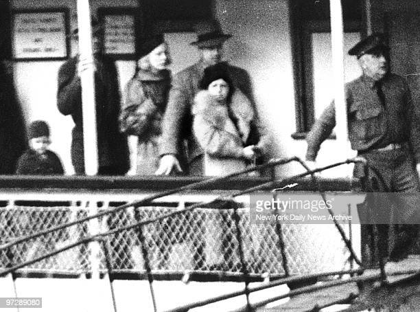 Mamie Capone wife of Al Capone going to visit her husband who is serving a sentence on Alcatraz Island for income Tax evasion