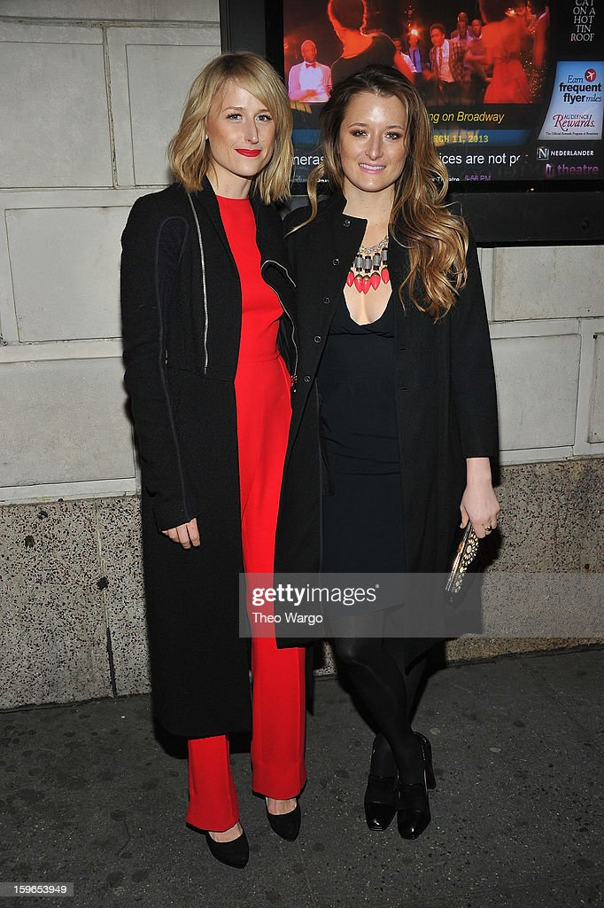 <a gi-track='captionPersonalityLinkClicked' href=/galleries/search?phrase=Mamie+Gummer&family=editorial&specificpeople=805216 ng-click='$event.stopPropagation()'>Mamie Gummer</a> and <a gi-track='captionPersonalityLinkClicked' href=/galleries/search?phrase=Grace+Gummer&family=editorial&specificpeople=594142 ng-click='$event.stopPropagation()'>Grace Gummer</a> attend the 'Cat On A Hot Tin Roof' Broadway Opening Night at Richard Rodgers Theatre on January 17, 2013 in New York City.