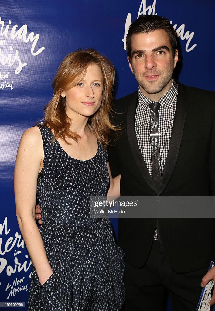 Mamie Gummer and Zachary Quinto attend the Broadway Opening Night Performance of 'An American in Paris' at The Palace Theatre on April 12, 2015 in New York City.