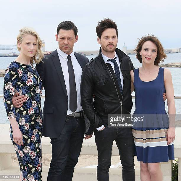 Mamie Gummer Richard Coyle Tom Riley and Alix Poisson attend 'The Collection' Photocall as part of MIPTV 2016 on April 4 2016 in Cannes France