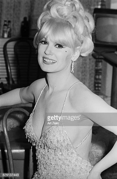 Mamie Van Doren closeup in beaded gown circa 1970 New York