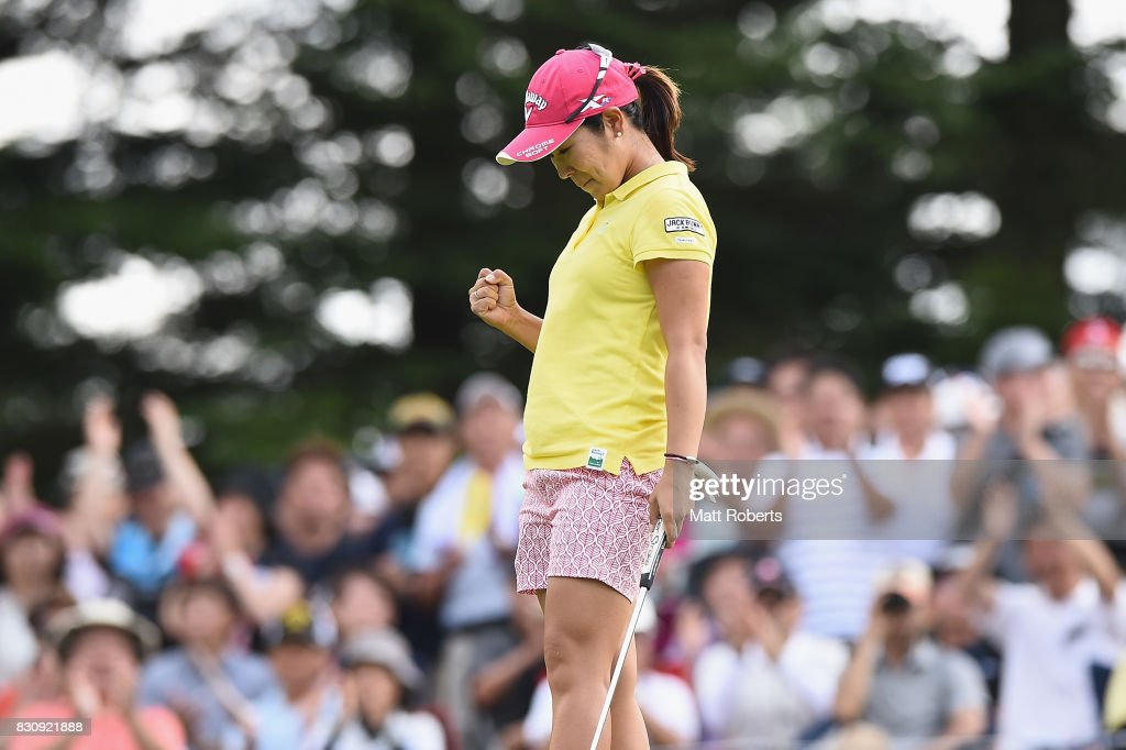 Mamiko Higa of Japan celebrates victory during the final round of the NEC Karuizawa 72 Golf Tournament 2017 at the Karuizawa 72 Golf North Course on August 13, 2017 in Karuizawa, Nagano, Japan.