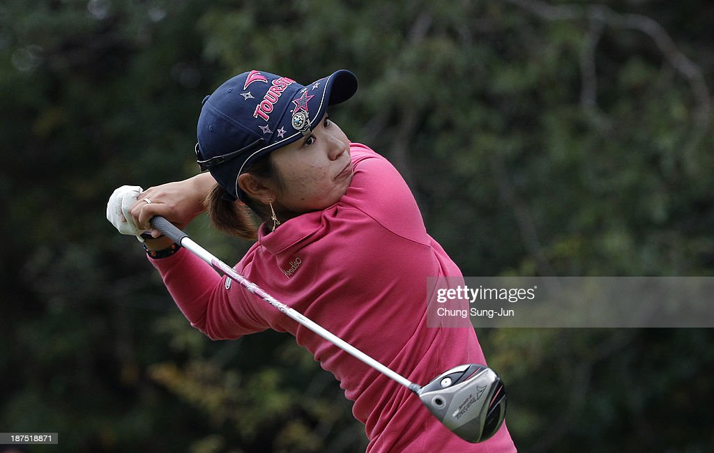 Mamiko Higa of Japan hits a tee shot during the final round of the Mizuno Classic at Kintetsu Kashikojima Country Club on November 10 2013 in Shima...