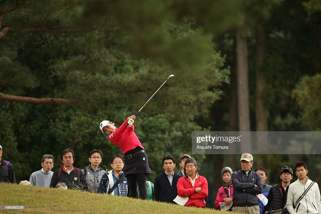Mamiko Higa of Japan hits her 2nd shot on the 18th hole during the second round of the Higuchi Hisako Ponta Ladies at the Musashigaoka Golf Course on...